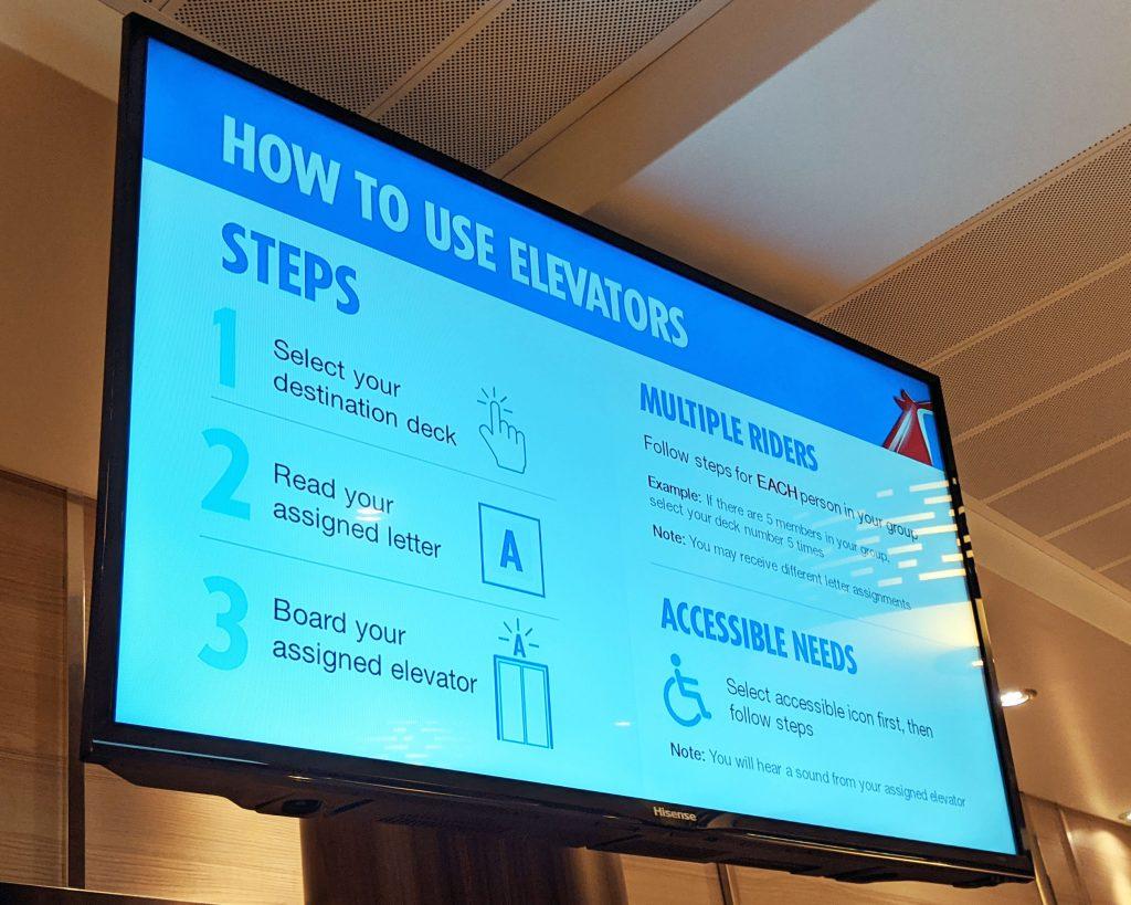 Carnival Horizon - Elevator Instructions