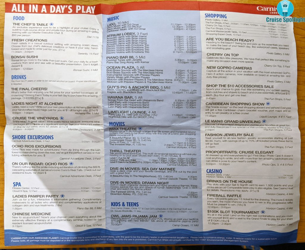 Carnival Horizon - Fun Times - Day 2 Sea Day - Mar 2020 - Page 2