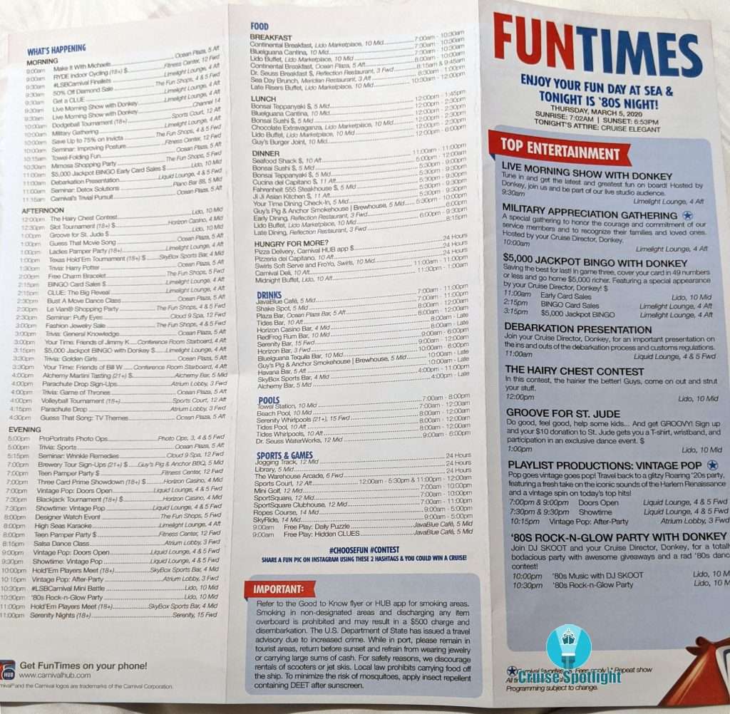 Fun Times - Day 5 Sea Day - Mar 2020 - Page 1