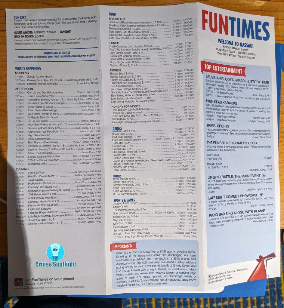 Fun Times - Day 6 Nassau - Mar 2020 - Page 1