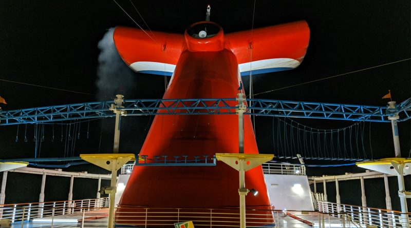 Carnival Horizon Funnel at Night