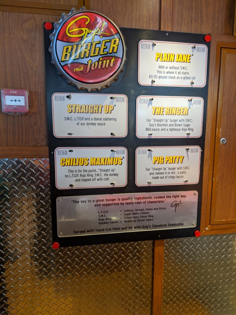 Guy's Burger Joint Menu