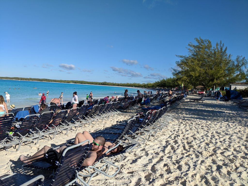 Loungers set up on the beach at Half Moon Cay