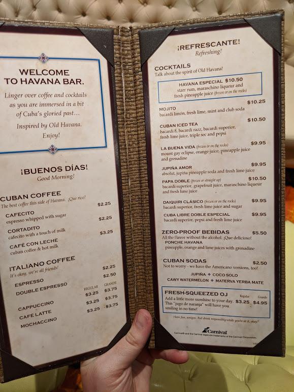 Havana Bar drink menu with prices