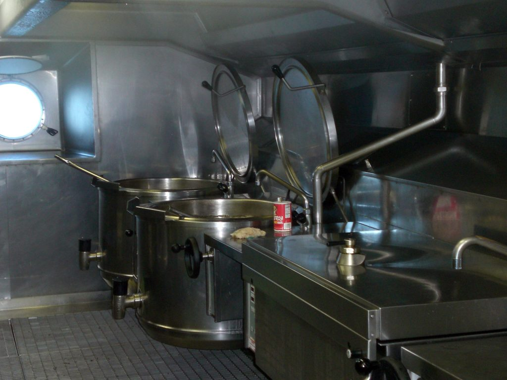 Massive Soup Vats in the Galley of the Carnival Pride