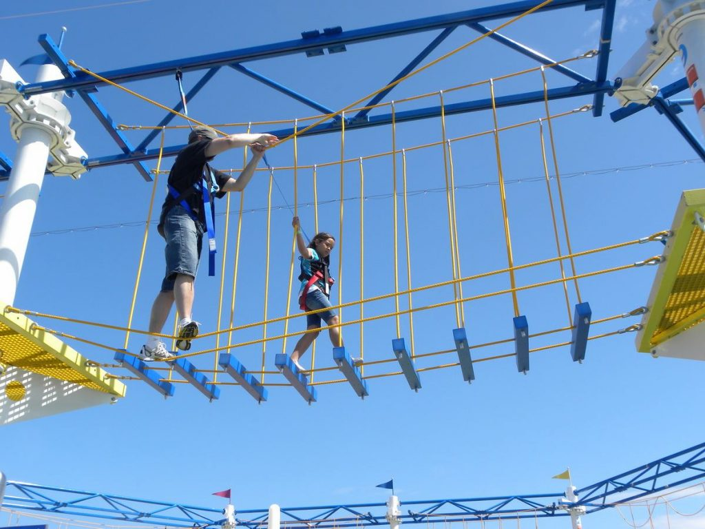 Kids and Adults can test their skill on the SkyCourse