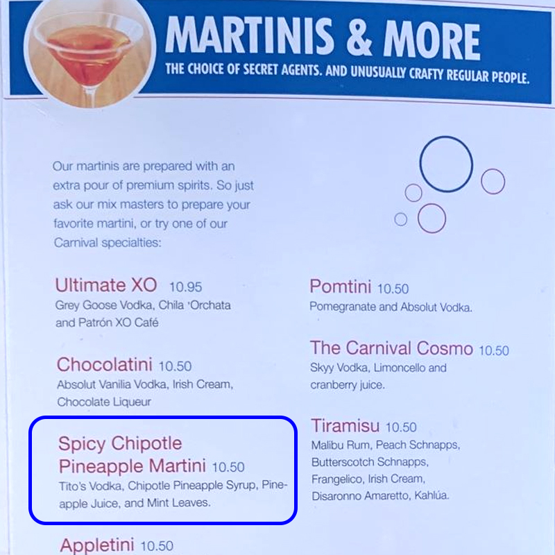Spicy Chipotle Pineapple Martini on the Atrium bar menu