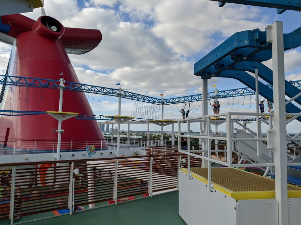 View of the SkyCourse on the Carnival Horizon from the beginning