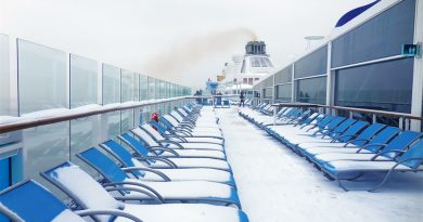 Snow on the deck of Royal Caribbean's Quantum of the Seas