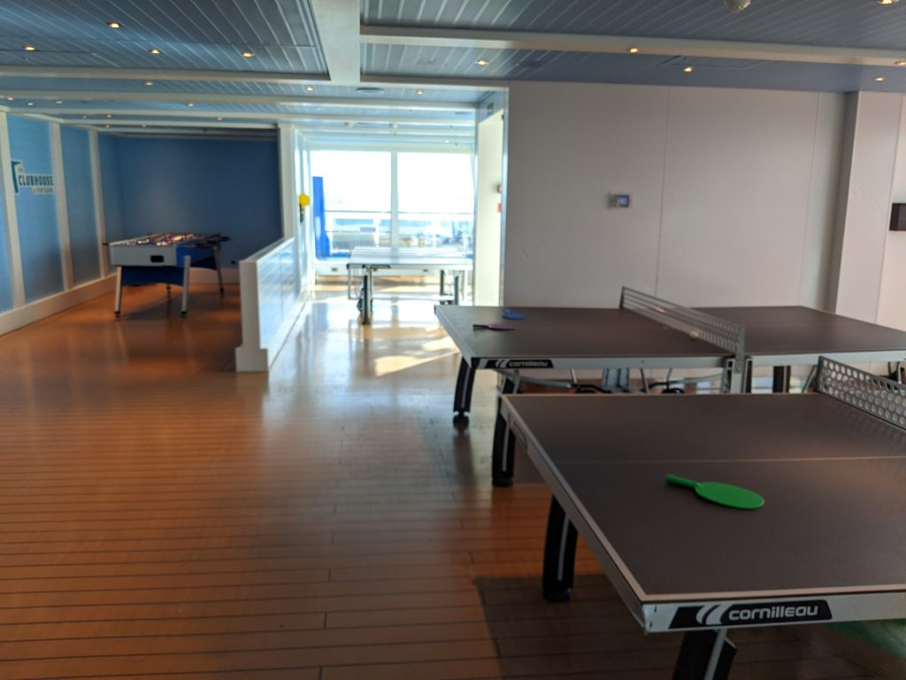 Foosball and table tennis in the indoor section of the Sports Square on the Carnival Horizon