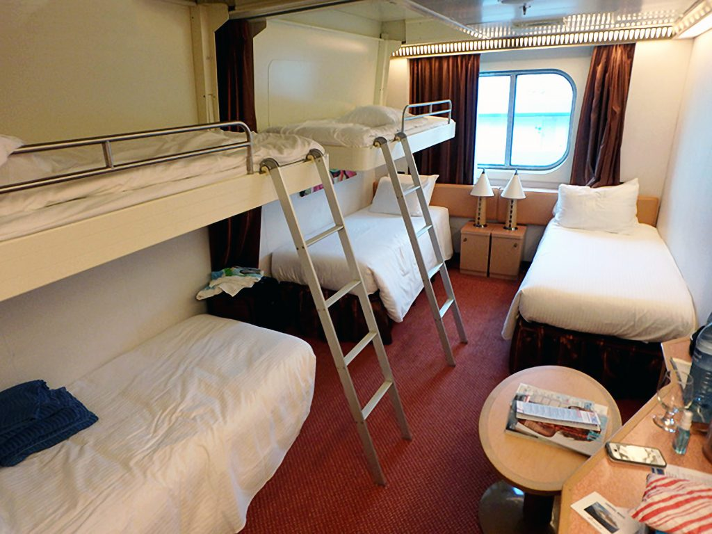 Ocean view cabin with 5 person setup on the Carnival Magic