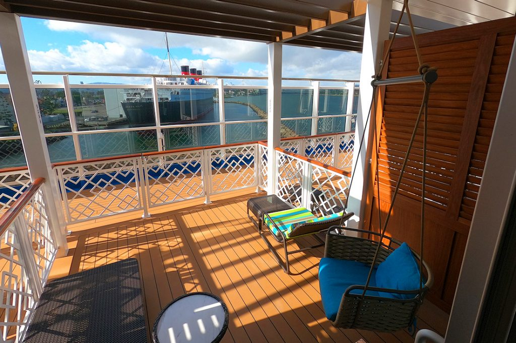 The patio cabana for a Havana ocean view staterooms on the Carnival Panorama