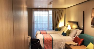 Ocean view stateroom with patio cabana on the Carnival Panorama