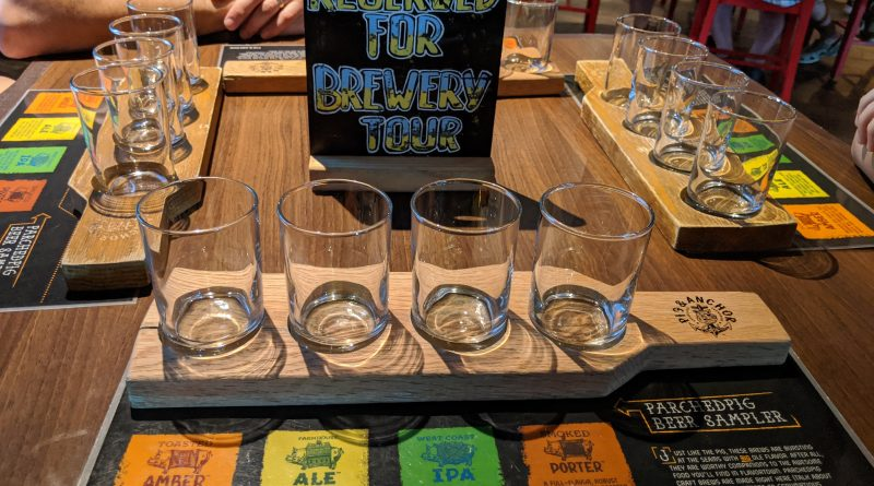 Flight of Parched Pig Beers at the Brewery Tour on the Carnival Horizon