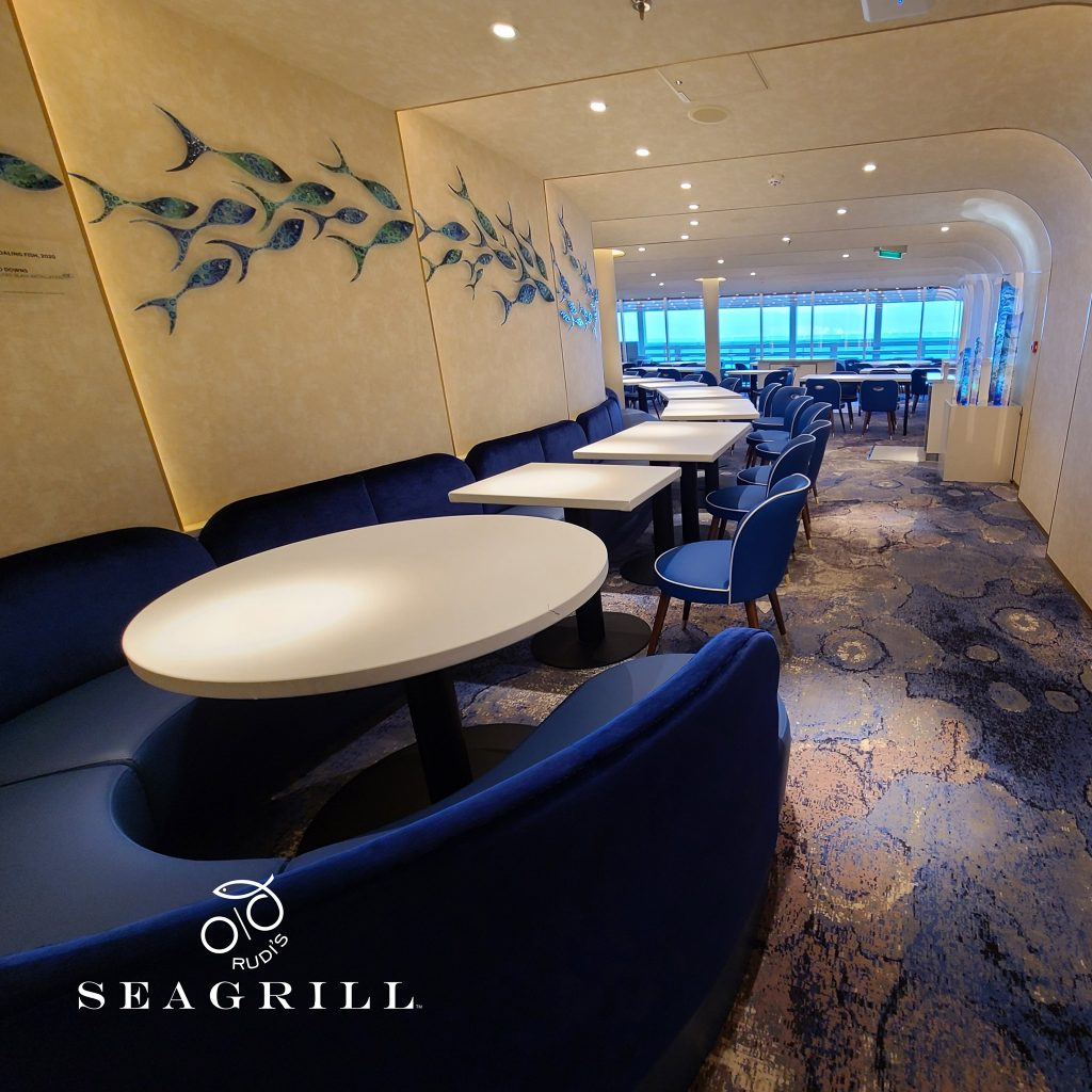 Blue dining room for Rudi's Seagrill on the Carnival Mardi Gras