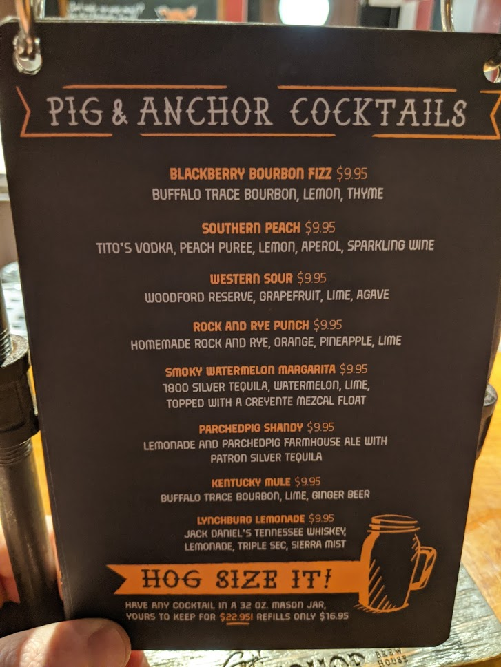 Cocktail Menu at Guy's Pig and Anchor on the Carnival Horizon from March 2020