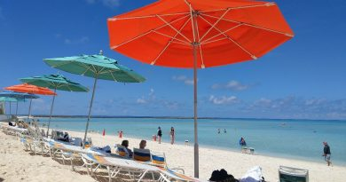 Beach chairs and umbrellas on Castaway Cay Beach