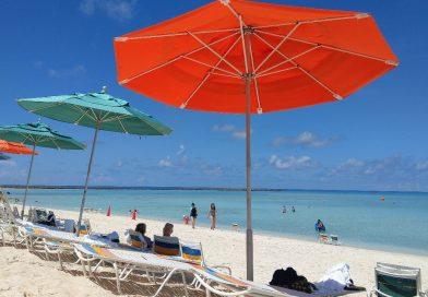 Beach chairs and umbrellas on Castaway Cay Beach