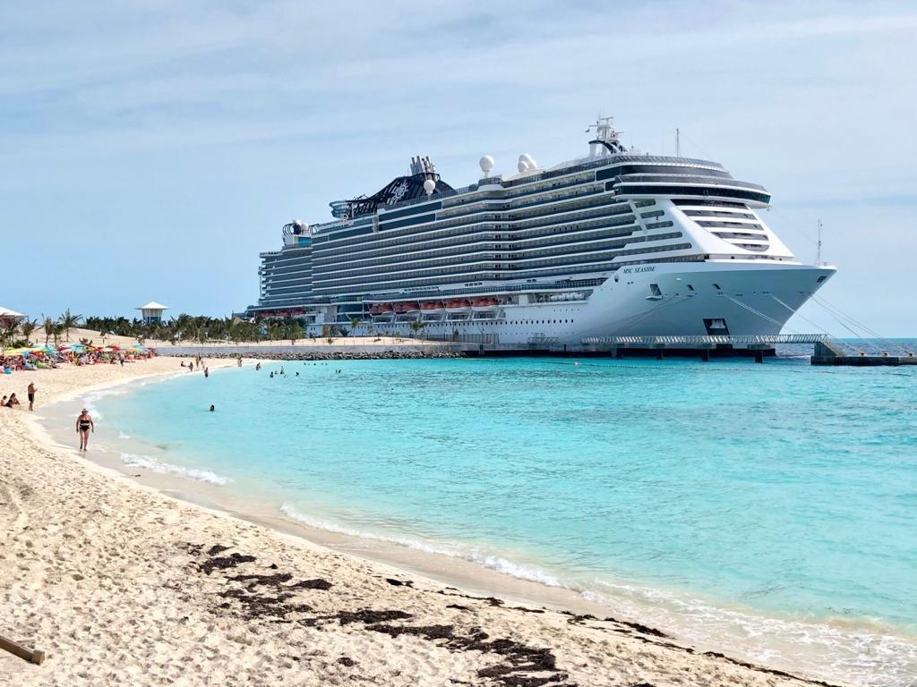 MSC Seaside Cruise Ship on Ocean Cay Beach