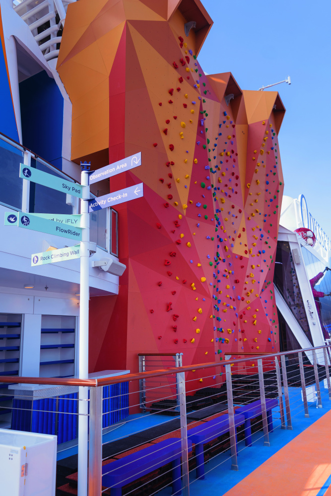 Red climbing wall on Odyssey of the Seas
