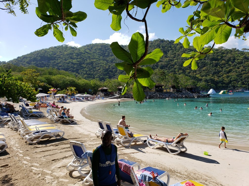 Loungers and tropical forest at Labadee