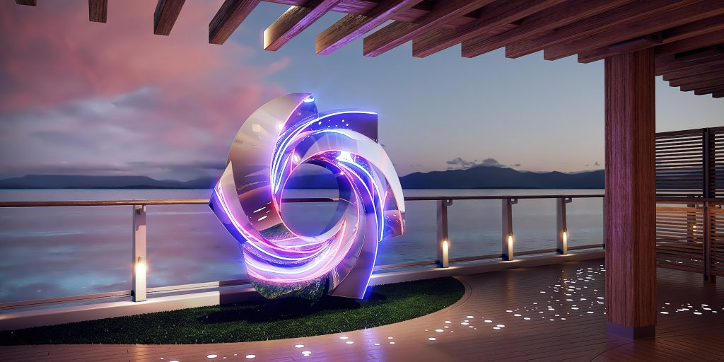 Glowing sculpture on deck of cruise ship