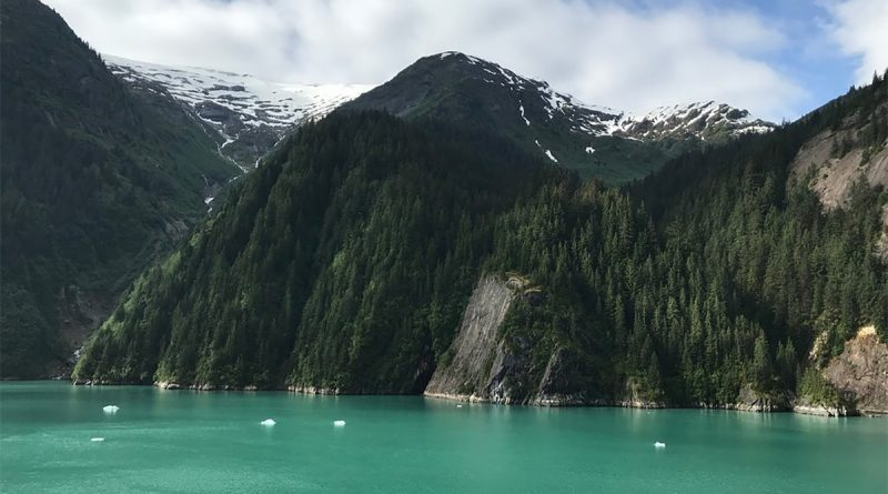 View of mountains in Alaska from a cruise ship balcony