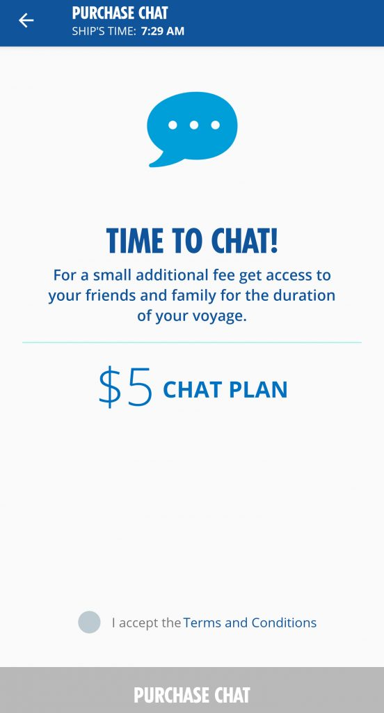 Screen shot of Carnival Hub Chat Plan