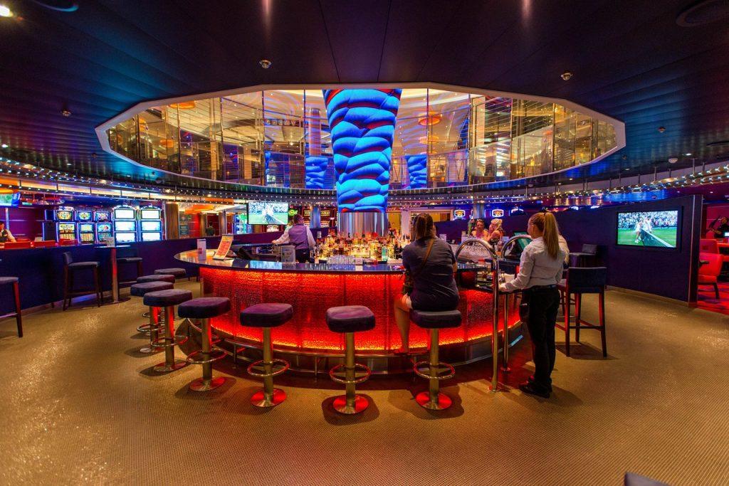 bar in a cruise ship casino on the Carnival Vista