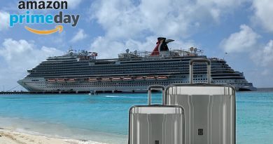 Suitcases on cruise ship with Amazon Prime Day Logo