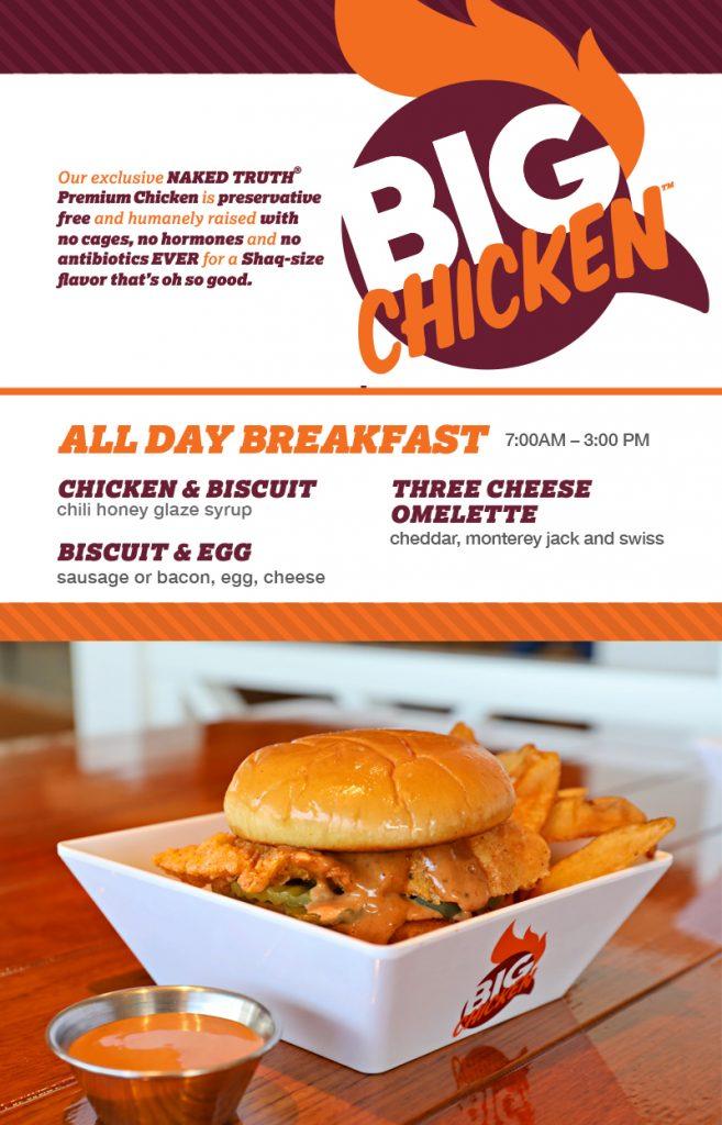 Carnival's Big Chicken Breakfast Menu
