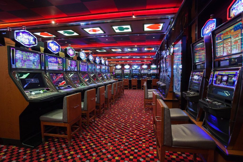 Slot machines on a cruise ship on the Carnival Breeze