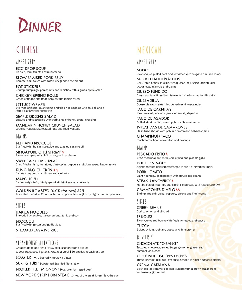 ChiBang's Complimentary Dinner Menu on the Carnival Mardi Gras