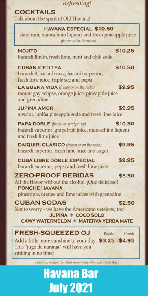 Drink menu from Carnival's Havana Bar on Carnival Vista