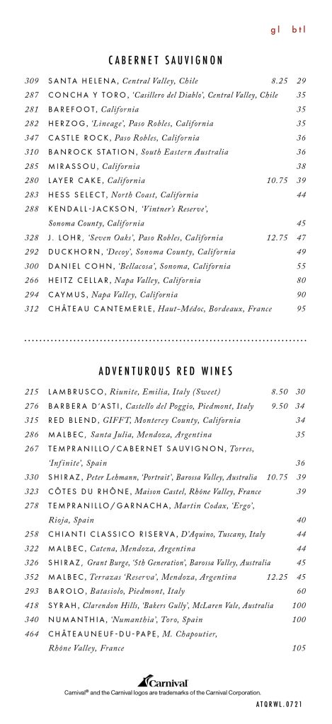 Carnival's main dining room wine list with prices