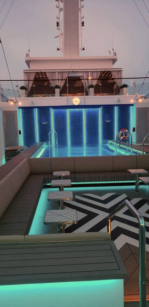Adult's only pool in a cruise ship with blue LED lighting