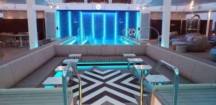Pool lounger with led lighting on a cruise ship