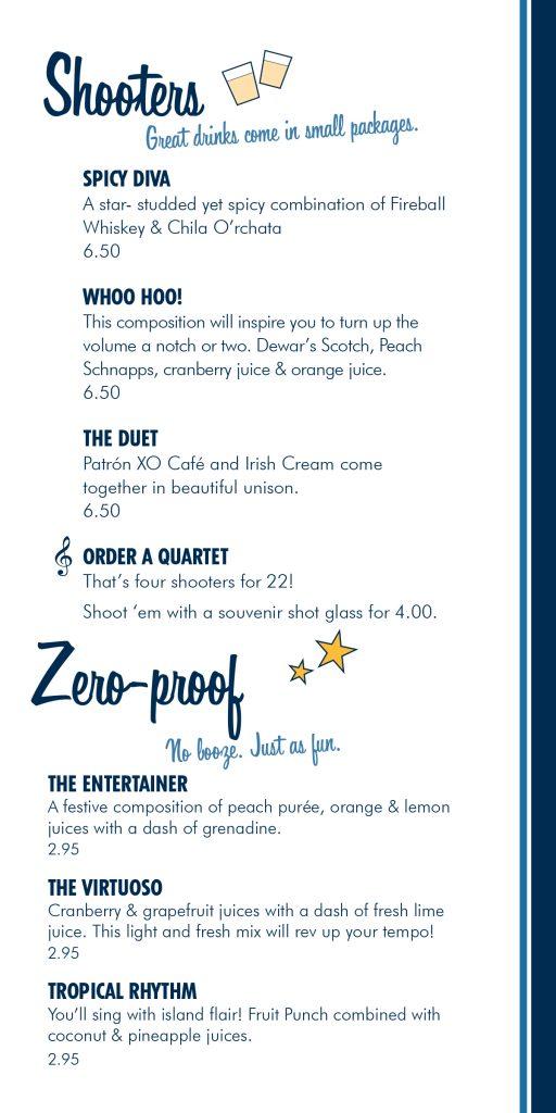 Bar menu for Carnival's Piano 88 Bar