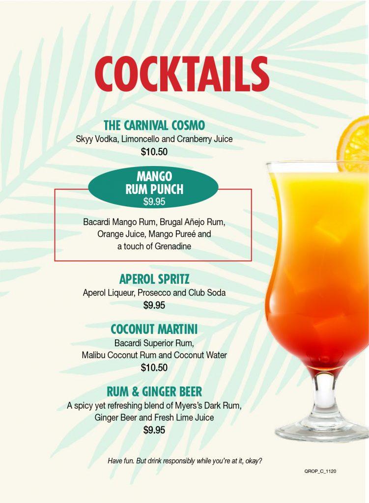Drink Menu for Carnival's Ocean Plaza Bar