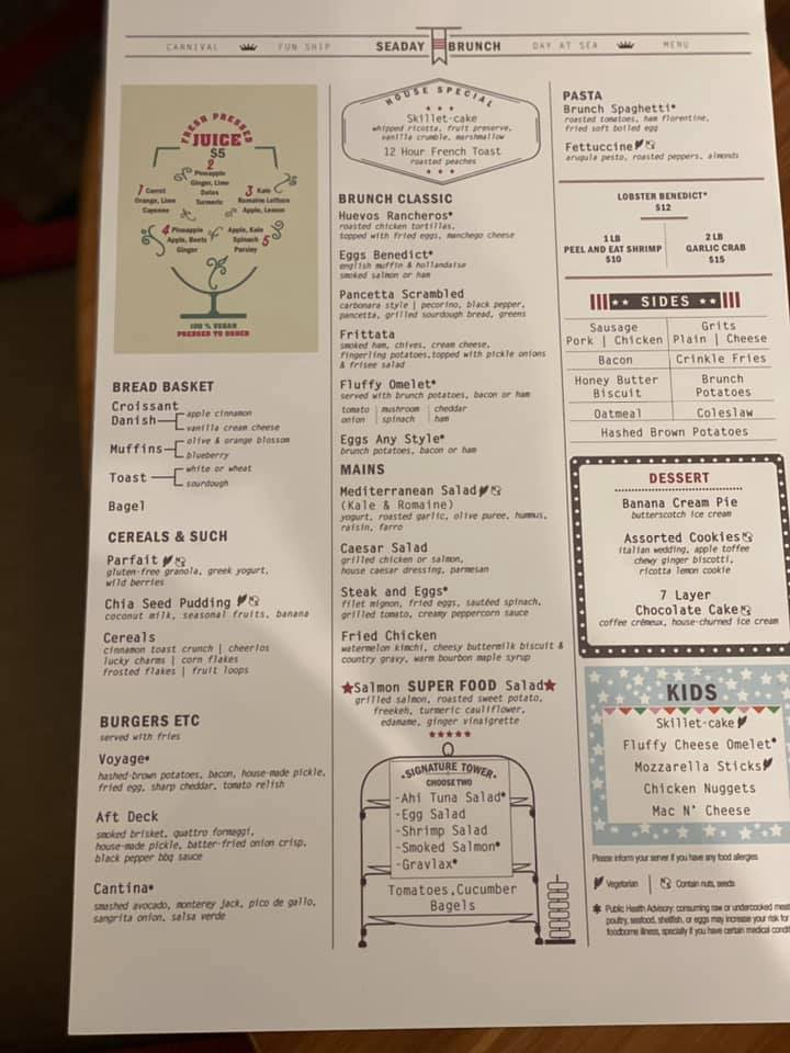 Carnival Sea Day Brunch menu in the Dining Room