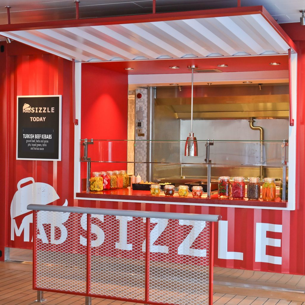 red food stall on a cruise ship