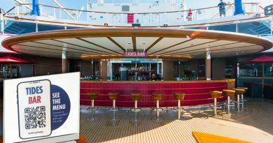 Tides Bar on Carnival Vista with QR drink menu