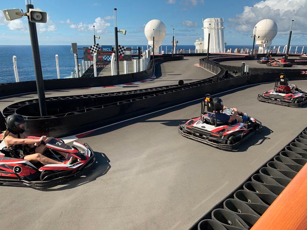 3 go karts on a Norwegian cruise ship