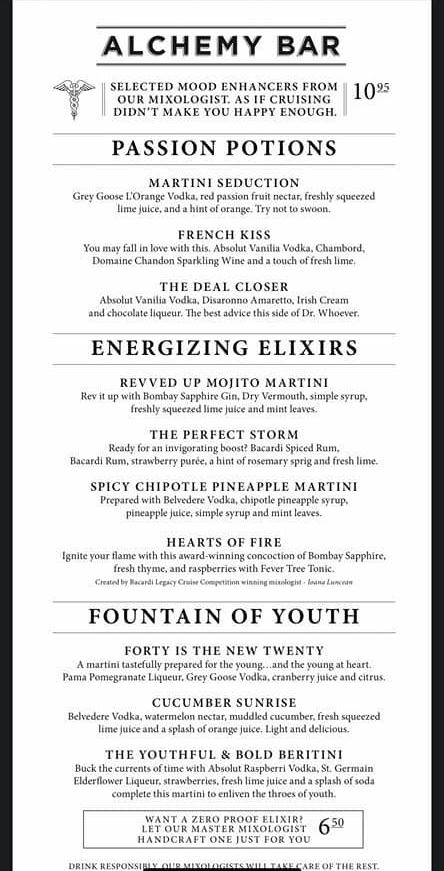 Carnival's Alchemy Bar Menu - Page 1