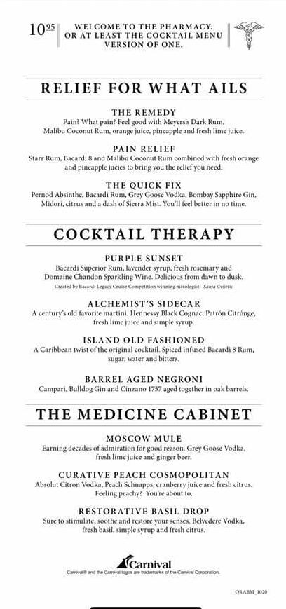 Carnival's Alchemy Bar Menu - Page 2
