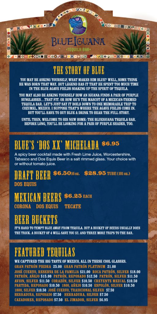 Carnival Blue Iguana Tequila Bar Menu - Page 1