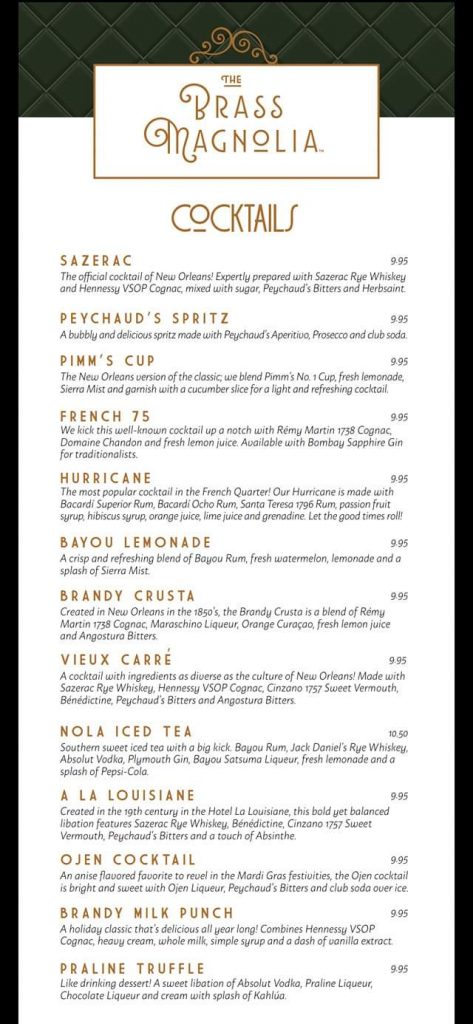 Carnival Brass Magnolia Bar menu