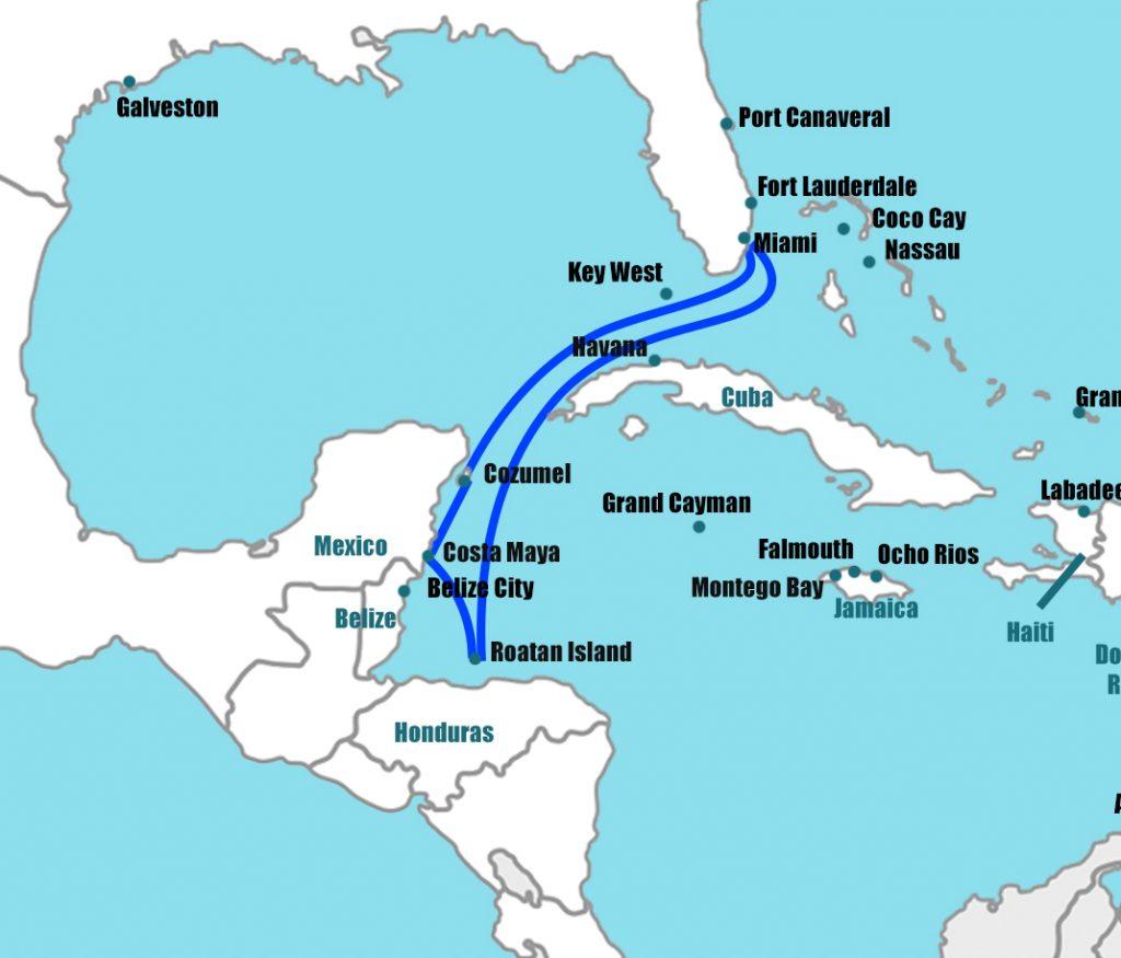 Map of Caribbean cruise ports