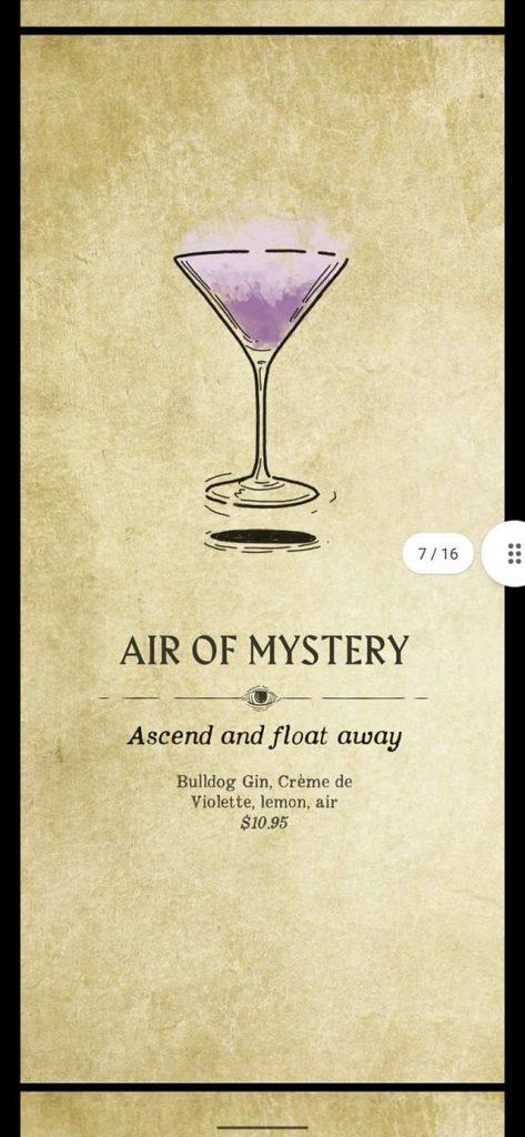 Fortune Teller Bar Menu on the Carnival Mardi Gras - Air of Mystery