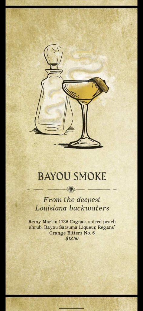 Fortune Teller Bar Menu on the Carnival Mardi Gras - Bayou Smoke
